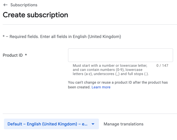 enter subscriptions id